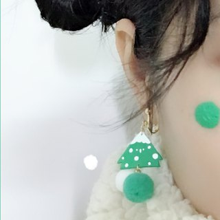 The new winter green Shuren hair ball earrings 18K Gold Earrings