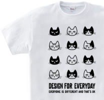 EVERYONE IS DIFFERENT AND THATS OK Cat series WM - WL • S - XL T - shirt 【Made to Order】