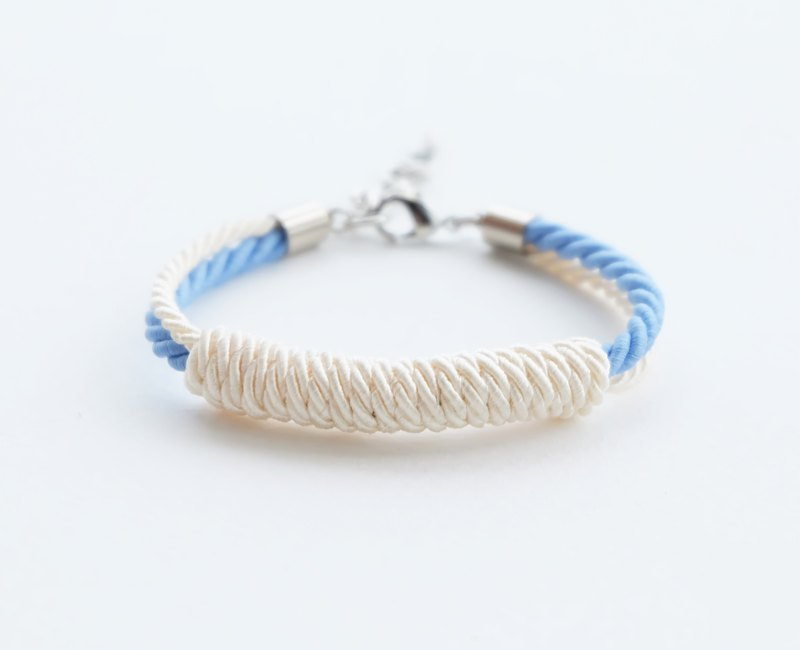 Cream and Matte cornflower blue rope bracelet