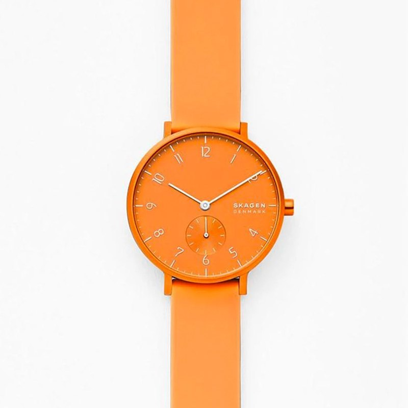 Aaren Kulor neon bright orange silicone watch 36mm-SKW2821