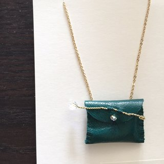 [Bluesy Mod] --- Leather Purse necklace (sparkle / forest green). Small leather purse necklace (dark green)
