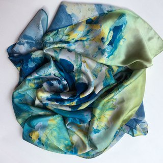 Art scarves green abstract two
