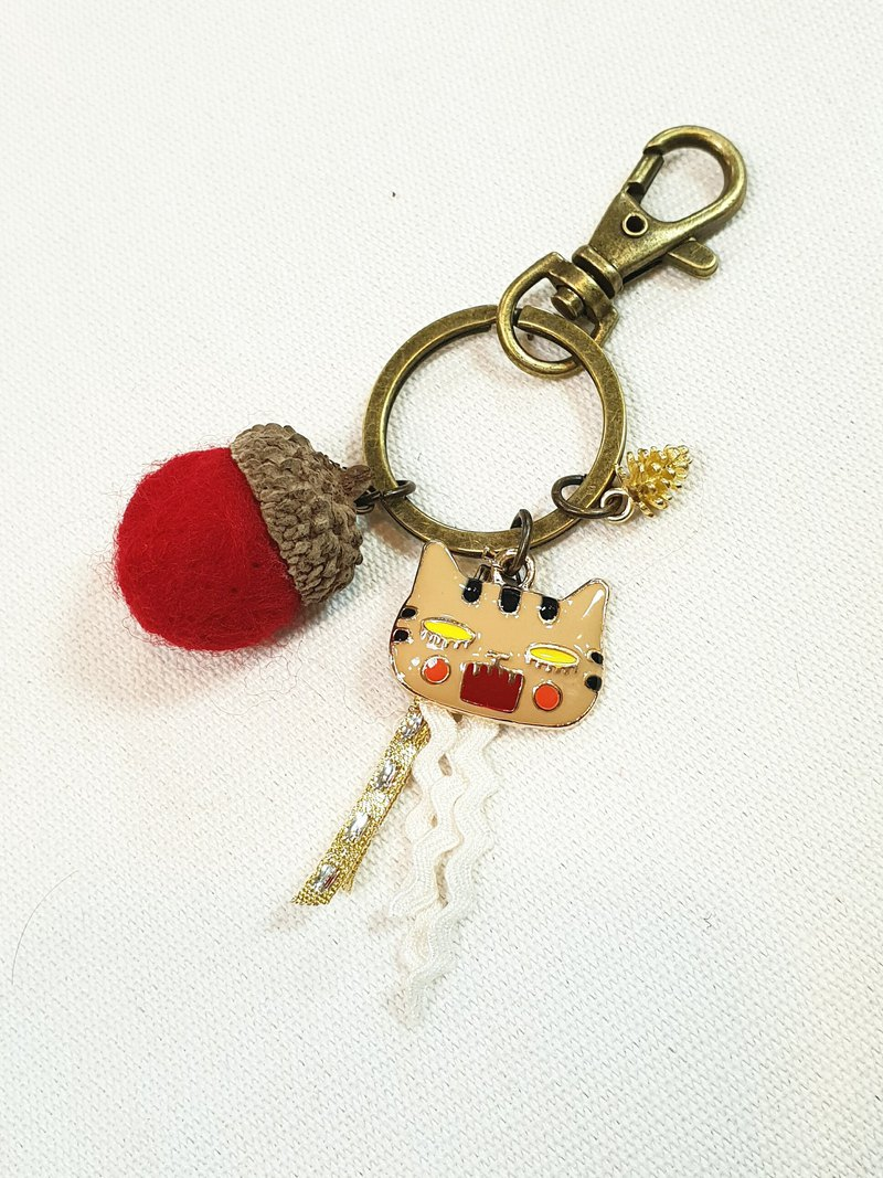 Paris*Le Bonheun. Happy forest. Angry cat. Wool felt acorn pine cone key ring