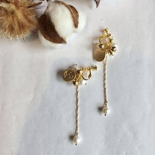 Balloon nature stones freshwater pearls earrings