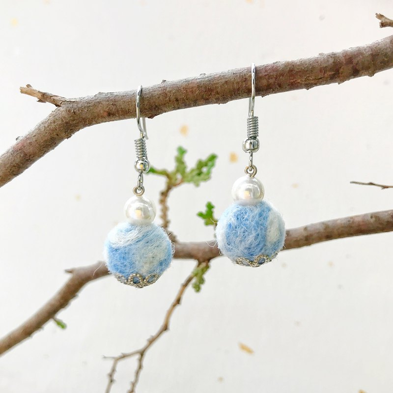 Blue sky and white clouds hand made wool felt earrings can be changed ear clips