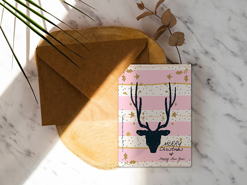 Pink Striped Elk [CM17097] Rococo Strawberry WELKIN Handmade Postcard / Christmas Card