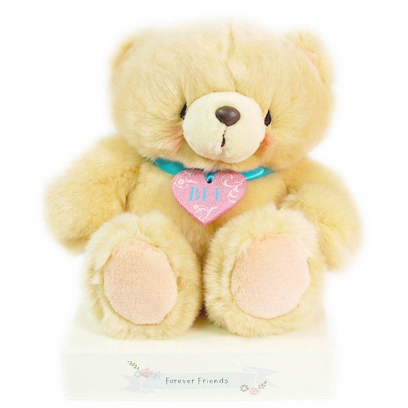 8 inch / heart-shaped badge plush bear [Hallmark-ForeverFriends Fluff - Valentine Series]