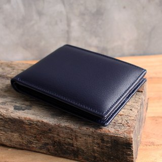 Wallet - Bifold - Navy Blue (Genuine Cow Leather) / Small Wallet  / 钱包 / 皮包