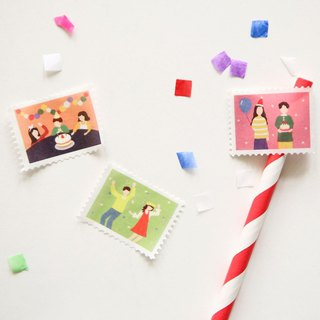 Dailylike Stamp Shaped Paper Tape (Single Roll) - 10 Happy Party, E2D09567