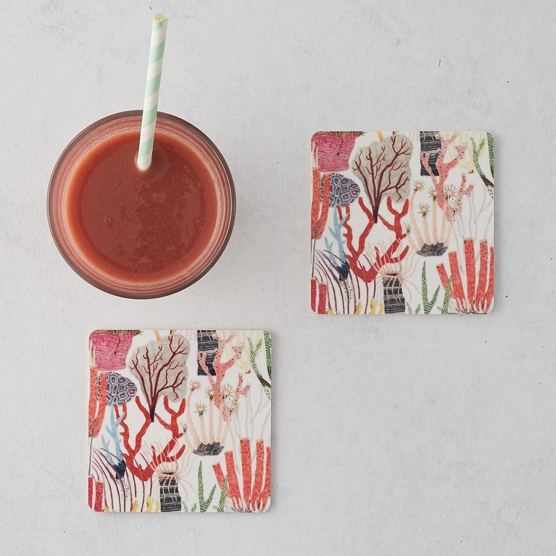 CORAL COASTERS SET OF 2