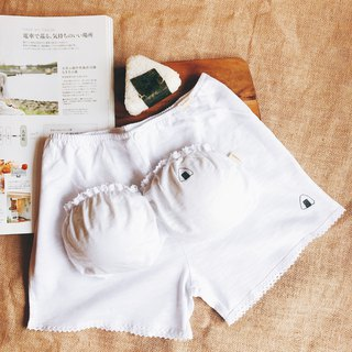 White - rice ball boy backing, home pants