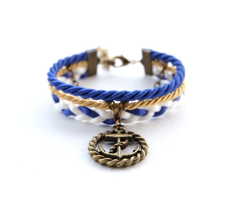 Circle Anchor layered bracelet in admiral blue / gold / white