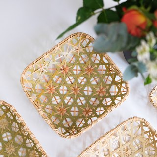 Handmade bamboo platter (M) | hexagonal hole chrysanthemum | primary / natural dyed orange