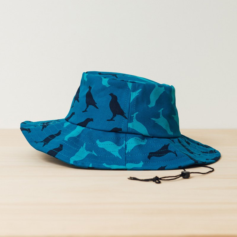 Sun Hat-Size Adjustable/Crested Myna No.5/Dark Lake Blue