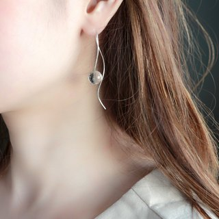 SV935(Argentium)-nuance curve crystal pierced earrings 不能改耳夾