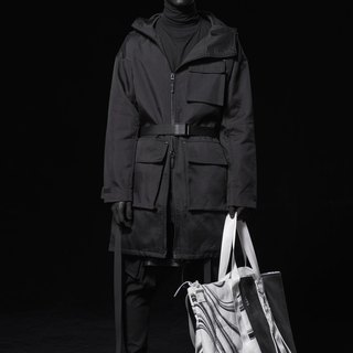【IONISM】 Asymmetrical tailoring machine Trench coat black