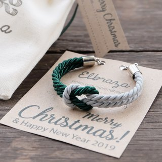 Dark green / Matte light gray knot rope bracelet  - Christmas bracelet