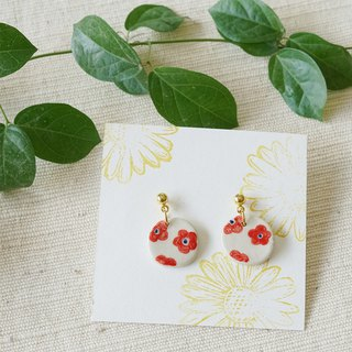 Red flower gold earrings