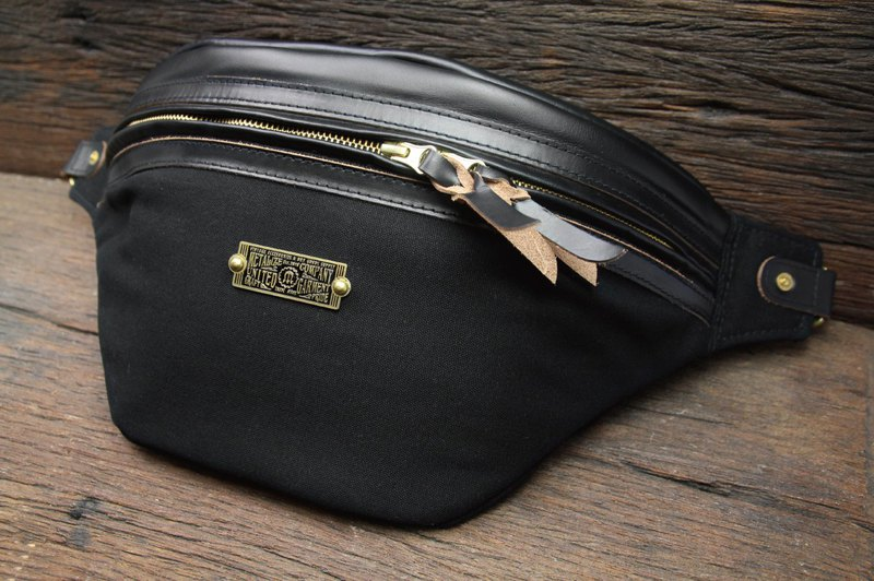 [METALIZE] 60/40 thick canvas leather pocket (black)