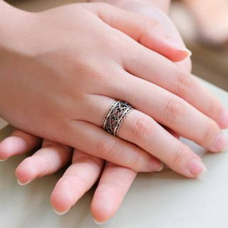 Sweet Lace Diamond Open Ring - Silver 925 Sterling Silver
