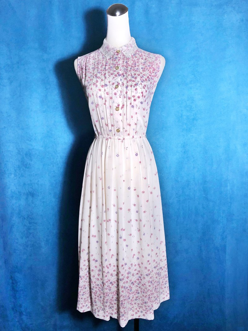 Knitted Lace Collar Flower Sleeveless Vintage Dress / Foreign Return to VINTAGE