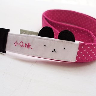 hairmo. Innocent bear hanging single camera / mobile phone strap - pink (hole 90)