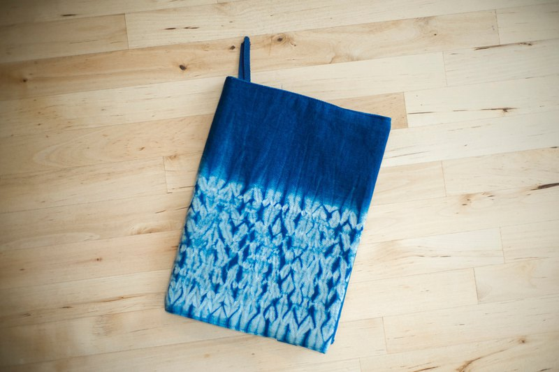 Stitching the flame. Natural blue dye. Handmade A5 book cover / book clothing