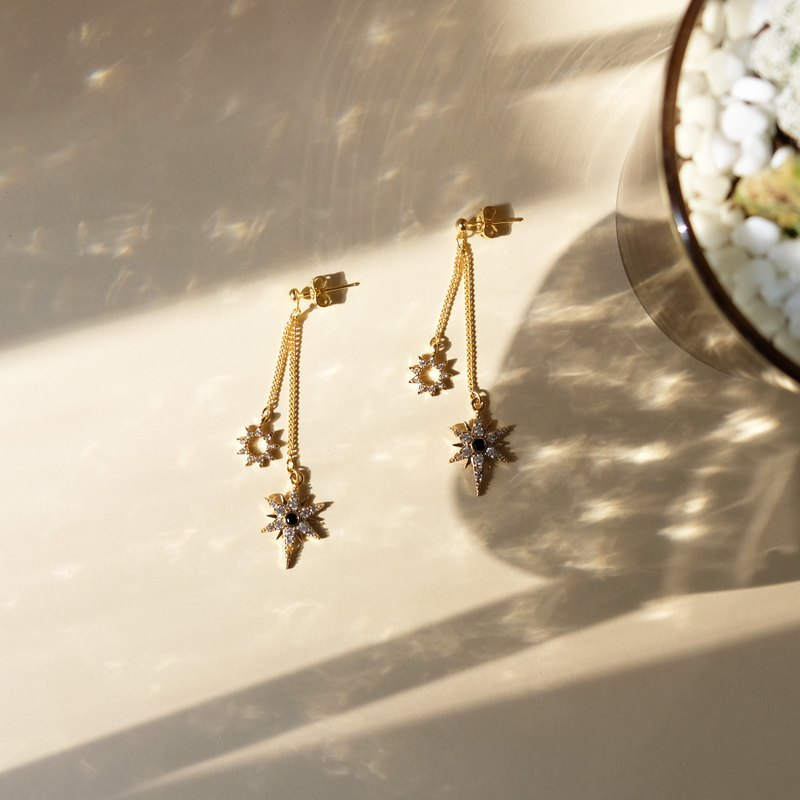 ALYSSA & JAMES 月亮系列 星星鋯石耳環 (可轉耳夾)