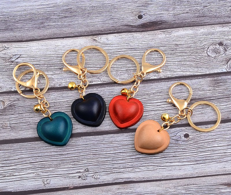 U6.JP6 handmade leather goods - handmade heart-shaped bell key ring charm