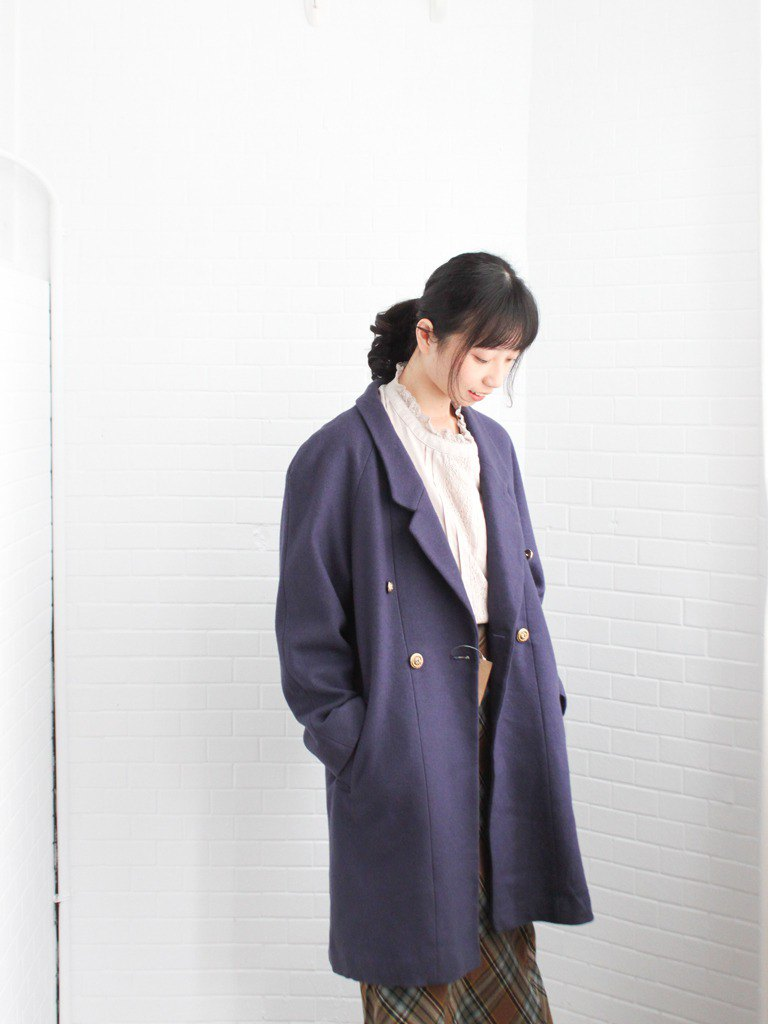 Retro winter Japanese temperament elegant elegant button-down suit wooly blue purple vintage wooly coat coat