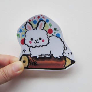 Hand drawn illustration style fully waterproof sticker running rabbit pencil