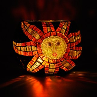 Sun Sun/ Handmade mosaic candlestick/ Home decoration/ Retro
