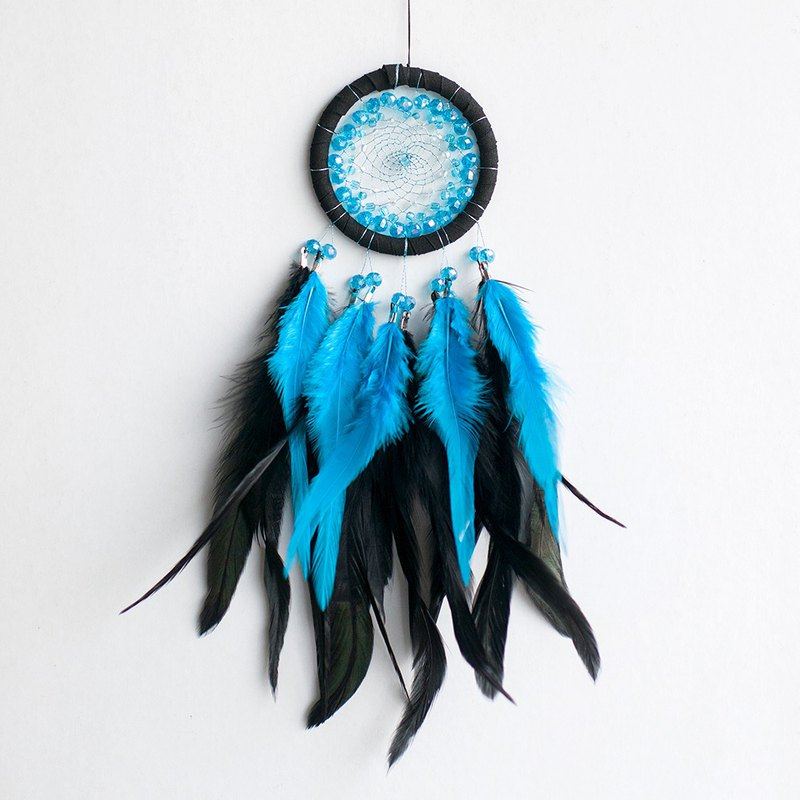 Gorgeous blue (beaded design) - Dream Catcher 8cm - Christmas exchange gift