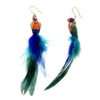 Rainbow Earrings with Feather