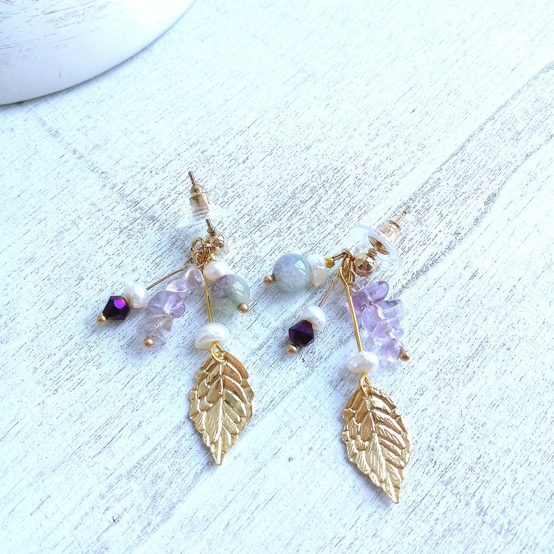 Aiyana Lavender Series Ametrine Natural Pearl Pure Copper Earrings - Ear/Aurture