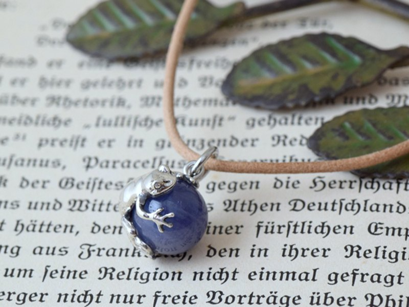 Frog Ball Pendant with Tanzanite Leather String Necklace