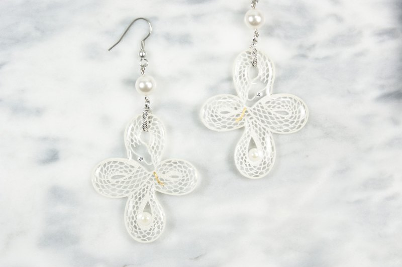 White snake ring knot big earrings