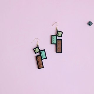 LEGO geometric earrings  brown black