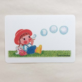 Flower Rabbit Bubble Ball Postcard no.123