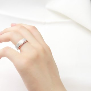 5mm Texture Ring - Silver + Thin Line Ring - Two Piece Set Sterling Silver Ring (Rose Gold)