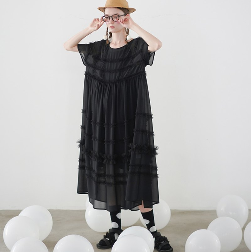 Black chiffon well dress dress - imakokoni