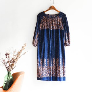 River Water Mountain - Shiga sea blue spray sprinkle water flowers dotted cotton long skirt dress overalls oversize vintage dress