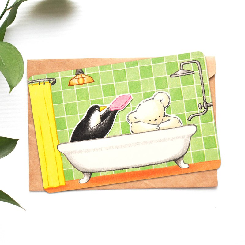 Greeting card / penguin and polarbear's bathroom/ quietly