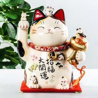 [Christmas gifts] Japanese pharmacists kiln hand-painted fortune lucky cat ornaments birthday opening housewarming gift 8.5