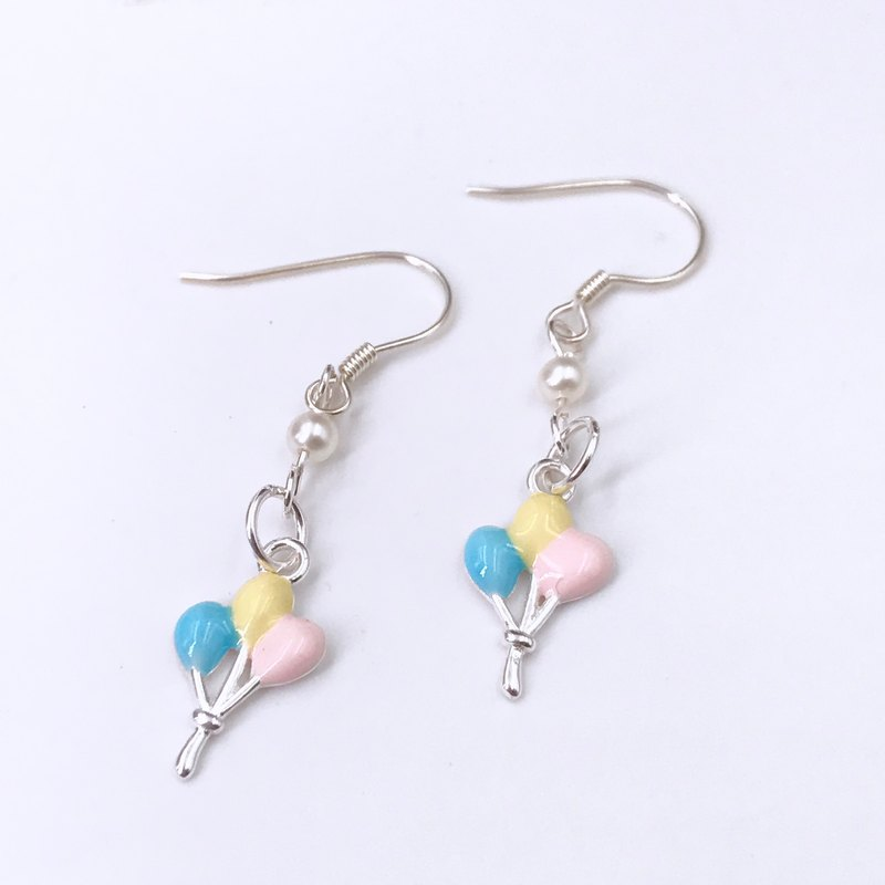 E31027 Colourful Ballons Silver 925 & Fresh Water Pearl Earrings