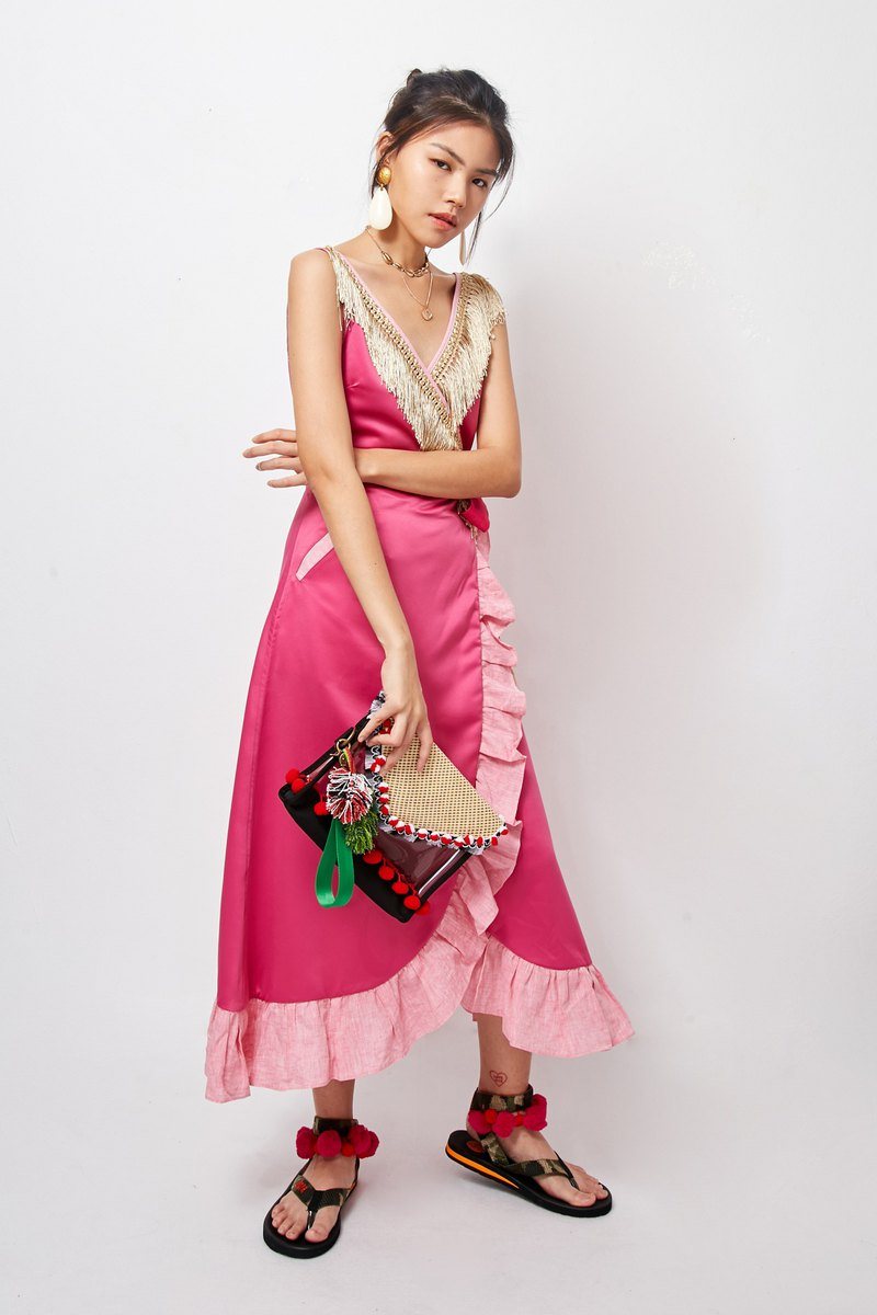 Mayu Maxi Dress -PINK (Long Mayu Pink Dress)