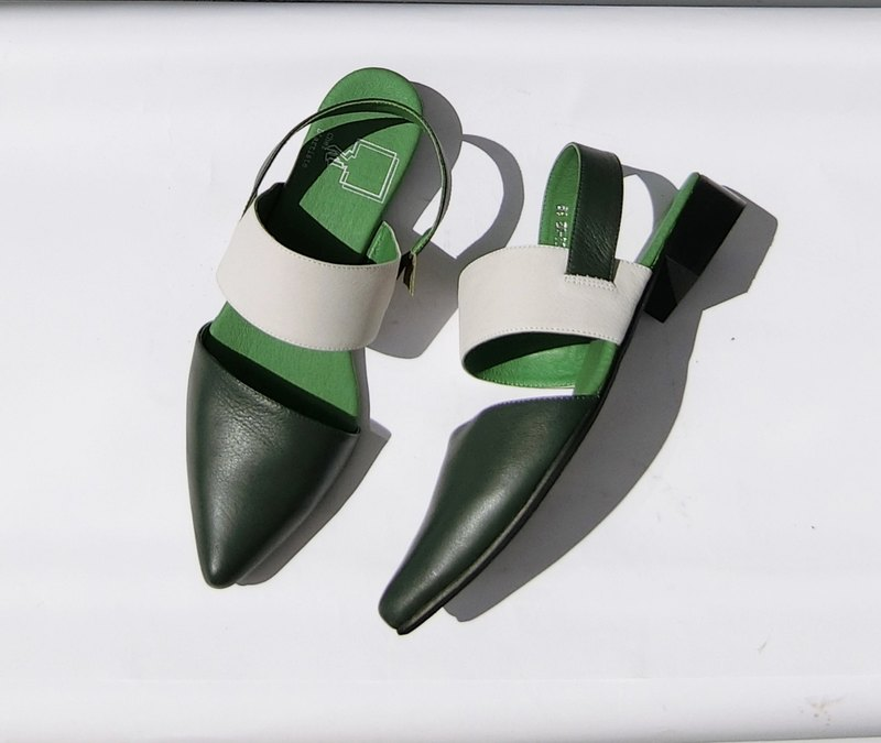 Painting # 8055 || calfskin pointed low heels summer flower triangle cotton candy olive green ||