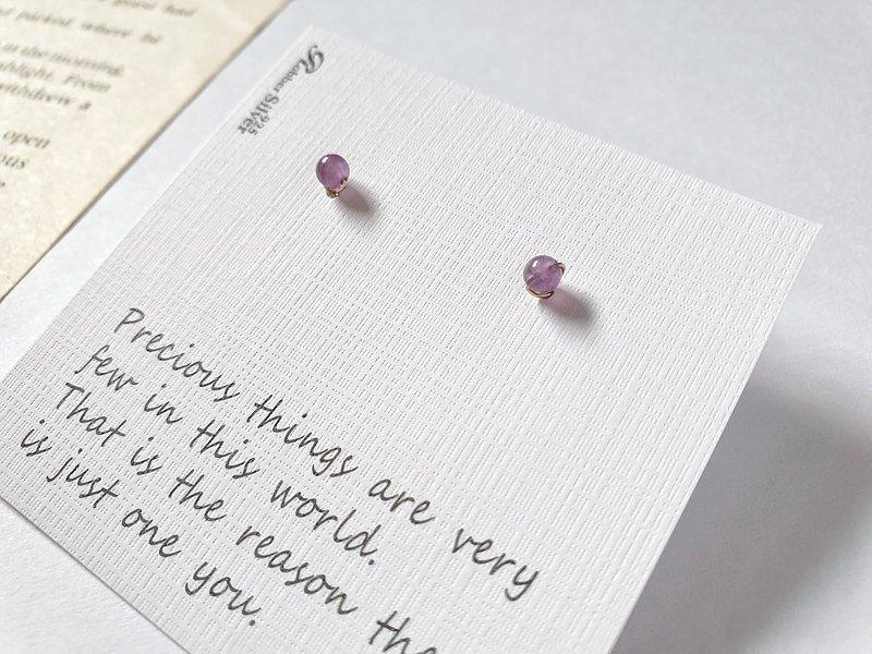 輕珠寶/ AAA迷你紫水晶耳環 簡約 耳夾 耳骨 小 養耳