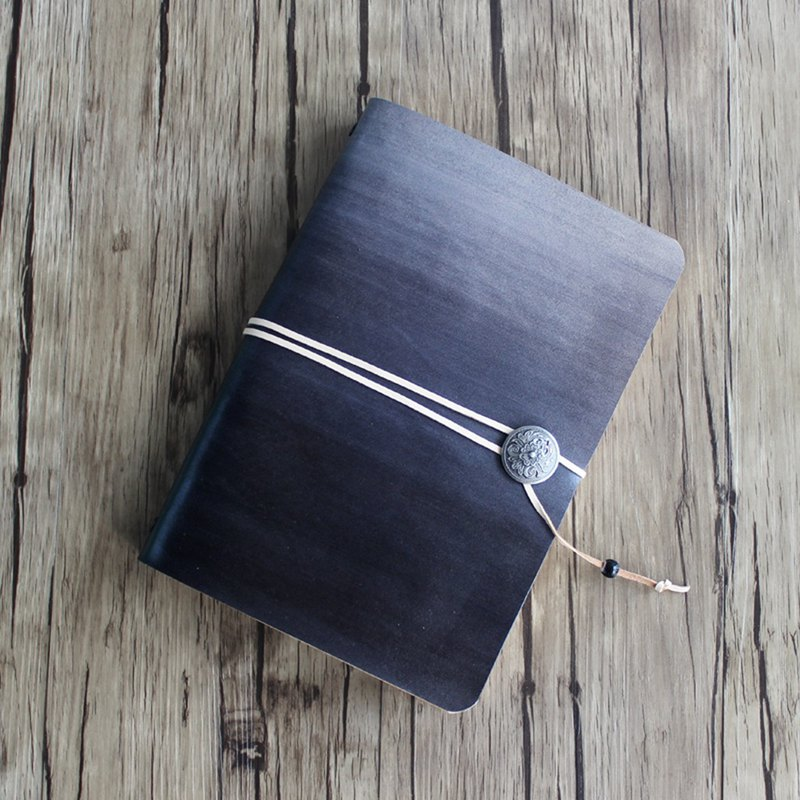Vegetable tanned cowhide black gradient a5 a6 a7 loose-leaf strap notebook handbook diary