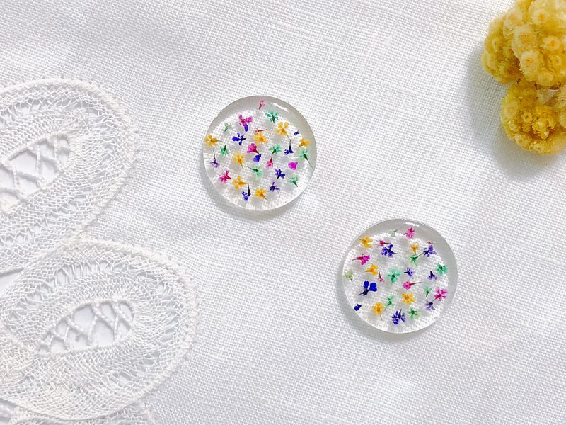 Season flowers series - summer fireworks hand made dry flower embossed ear clips